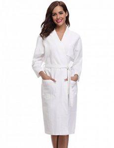 Robe de Chambre Kimono Tissage Gaufré Femme Coton Waffle Peignoir de Bain Légère col V Unisexe Pyjama pour l'hôtel Spa Sauna Vêtements de Nuit de la marque Aibrou image 0 produit
