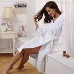 Robe de Chambre Kimono Tissage Gaufré Femme Coton Waffle Peignoir de Bain Légère col V Unisexe Pyjama pour l'hôtel Spa Sauna Vêtements de Nuit de la marque Aibrou image 3 produit