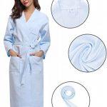 Robe de Chambre Kimono Tissage Gaufré Femme Coton Waffle Peignoir de Bain Légère col V Unisexe Pyjama pour l'hôtel Spa Sauna Vêtements de Nuit de la marque Aibrou image 1 produit