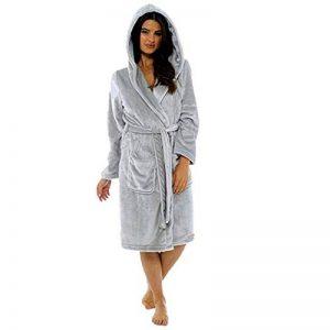 Robe De Chambre pour Femmes en Coton éPonge Grand Taille Peignoir Polaire avec Capuche Et ChâLe Serviette De Satin Bain Wrap de la marque Susenstone image 0 produit