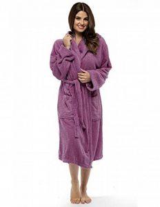 Robe de Chambre pour Femmes en Coton éponge Peignoir de très Absorbant Capuche et châle Serviette de Bain Wrap de la marque CityComfort image 0 produit