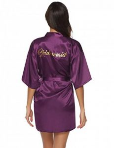 Robes de Chambre et Kimonos Robes de Mariée Femme Peignoir Satin Robes de Chambre Couleur Pure Vêtement de Nuit Sortie de Bain de la marque Abollria image 0 produit