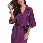Robes de Chambre et Kimonos Robes de Mariée Femme Peignoir Satin Robes de Chambre Couleur Pure Vêtement de Nuit Sortie de Bain de la marque Abollria image 4 produit