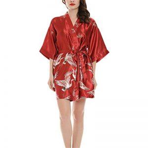 Robes de Chambre et Kimonos Robes de Mariée Femme Peignoir Satin Robes de Chambre Couleur Pure Vêtement de Nuit Sortie de Bain,Manche en Soie de la marque DUJUN image 0 produit