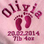 Rose Couverture pour bébé personnalisé avec empreinte Motif de la marque The-Personalised-Baby-Company image 1 produit