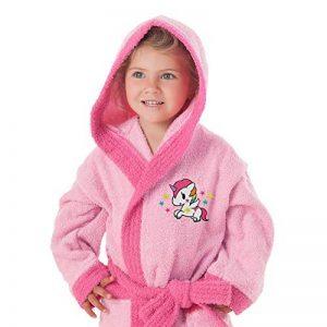 Secaneta–Peignoir pour fille avec capuche et poches 100% coton Motif licorne 2 a 4 años / 2 to 4 Years Old rose de la marque SECANETA image 0 produit