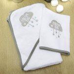 Sensio Serviette à capuchon pour bébé - Extra doux et absorbant, 100% coton, Grand 75x75 cm - Tissu blanc avec capuche pour bébés, nouveau-nés, tout-petits, nourrissons - Gris de la marque SENSIOHOME image 1 produit