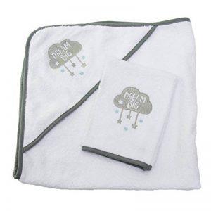 Sensio Serviette à capuchon pour bébé - Extra doux et absorbant, 100% coton, Grand 75x75 cm - Tissu blanc avec capuche pour bébés, nouveau-nés, tout-petits, nourrissons - Gris de la marque SENSIOHOME image 0 produit