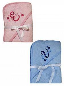Serviette bébé Sortie de bain à capuche Rose ou bleu brodé personnalisé avec le prénom Serviette bébé cadeau baptême, baby shower, cadeau naissance de la marque N/D image 0 produit