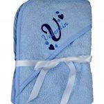 Serviette bébé Sortie de bain à capuche Rose ou bleu brodé personnalisé avec le prénom Serviette bébé cadeau baptême, baby shower, cadeau naissance de la marque N/D image 1 produit