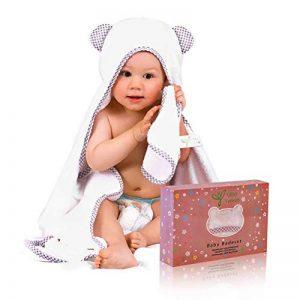 Serviette à capuchon pour bébé, Gejo Serviette de Bain Bébé - Serviette Fibre de Bambou pour les Enfants - 100 cm x 70 cm - Nouveau-nés ou Nourrissons Garçons et Filles avec gant de toilette inclus de la marque GEJO image 0 produit