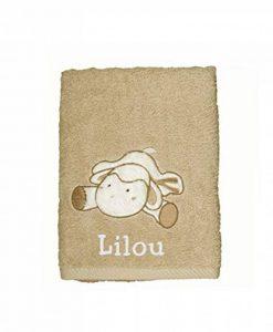 Serviette de bain enfant MOUTON 70x140cm personnalisée prénom, cadeau naissance, bébé de la marque N/D image 0 produit