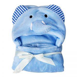 Serviette de bain pour bébé en polaire douce pour enfant Motif éléphant Ours à capuche Taille L 95 x 75 cm de la marque KBZHAE7 image 0 produit