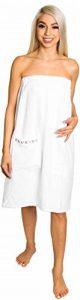 [SERVIETTE DE BAIN] pour Femme - 100% coton Bio - Saunasarong avec boutons - Peignoir de sauna blanc Confortable - Serviette enveloppante avec poche (76 x 147) de la marque Loukidu image 0 produit