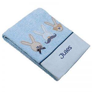 Serviette de toilette pour enfant bébé personnalisée prénom, motif lapins, 50x100cm, cadeau anniversaire, cadeau personnalisé, naissance baptème de la marque N/D image 0 produit
