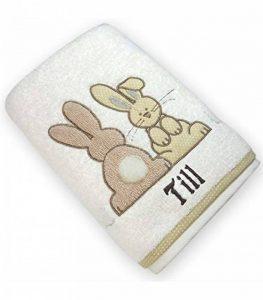 Serviette personnalisée lapins ecru, 50x100cm, cadeau bébé, naissance, bapteme garçon cadeau enfant avec son prénom de la marque N/D image 0 produit