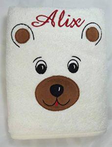 Serviette personnalisée ours, 50x100cm, cadeau bébé, naissance, bapteme garçon fille cadeau enfant avec son prénom de la marque N/D image 0 produit