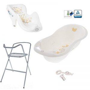 Set de bain ensemble baignoire avec support et siège transat indispensables pour le bébé enfant nouveau-née Tega Baby thème Ours couleur blanc perle de la marque Tega-Baby image 0 produit