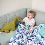 Sevira Kids - Couverture plaid bébé Minky - ultra douce - taille XXL 135x100 cm - Dino Bleu roi de la marque Sevira-Kids image 4 produit