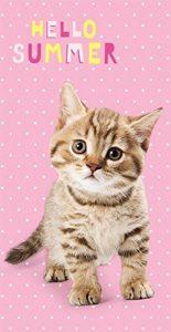 Sweet Animals Hello Summer chaton chat serviette de plage 70x 140cm de la marque Sweet Animals image 0 produit