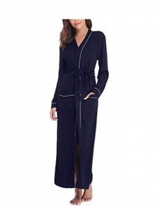 Sykooria Femmes Peignoirs de Bain en Tricot Coton Casual l'hôtel Spa Sauna Vêtements de Nuit avec 2 Poches Manches Longues de la marque Sykooria image 0 produit