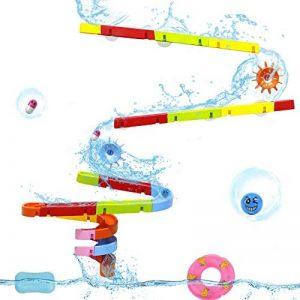 Symiu Jeux de Bain Circuit Bille Baignoire Enfant Jouet d'Eau Construction Roulette Toboggan Douche Ventouse pour Enfant Garçon Fille 3 4 5 Ans de la marque Symiu image 0 produit