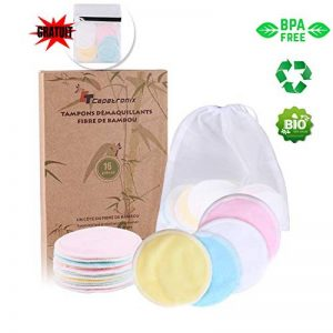 Tampons Démaquillants fibre de bambou丨disques coton demaquillant lavable丨(16pcs) + 2 Sac de lavage丨Fibre de bambou + velours(Devant et dos) 丨Lavable et réutilisable丨Boîte d'emballage biodégradable de la marque CT-CAPETRONIX image 0 produit