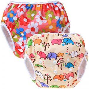 Teamoy Couches de bain lavables pour Bébé (2 Paquets) Pantalon de Couche en Tissu pour Garçons et Filles, Fleurs Rose + Eléphants de la marque Teamoy image 0 produit