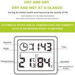 Thermomètre numérique hygromètre, enregistreur de température, d'humidité et d'horloge 3-en-1 pour Salon, Chambre à Coucher, Bureau, Salle de Bain, Cuisine, Ferme de la marque Esplic image 1 produit