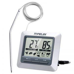 TOPELEK Thermomètre Cuisine Grand Ecran LCD, Thermomètre Sonde pour Cuisson au Four, Mode Cuisson Programmable, Alerte BIPS et Température Préréglée/Mode de Minuterie Intelligent de la marque TOPELEK image 0 produit