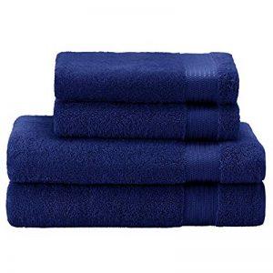 Twinzen ⭐ Lot Serviette de Bain (4 pièces), 100% Coton, sans Produits Chimiques - 2 x Essuie Main (50 x 80 cm) et 2 x Drap de Bain (140 x 70 cm) - Oeko TEX - Serviettes de Bain Douces et Absorbantes de la marque Twinzen image 0 produit