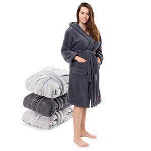 Twinzen ⭐ Peignoir Femme en Microfibre (100% Polyester) Long avec Capuche pour Adulte Vetement Certifié Oeko TEX - Robe de Chambre 2 Poches, Ceinture et Boucle d'Accroche - Doux et Confortable de la marque Twinzen image 0 produit