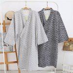 Unisexe Peignoir de Bain Douche Coton Robe de Chambre Kimono Homme Femme Chemise Vêtement de Nuit Confortable Pyjamas Yukata Lâche pour Hôtel Spa Maison Natation Khan Vapeur Sauna avec Poche Ceinture de la marque QCHOMEE image 1 produit