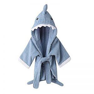 URAQT Unisex Bébé Peignoir, Sortie de Bain pour Nouveauté, avec Motif Animal Animé, comme Serviette (Requin Bleu) M de la marque URAQT image 0 produit