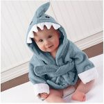 URAQT Unisex Bébé Peignoir, Sortie de Bain pour Nouveauté, avec Motif Animal Animé, comme Serviette (Requin Bleu) M de la marque URAQT image 4 produit