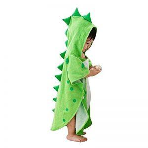 UULMBRJ Children Serviette de Bain à Capuche Dinosaure pour bébé Robe de Bain Plage Poncho de Natation pour garçons et Filles, Coton, Vert, Small de la marque UULMBRJ image 0 produit