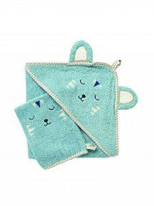 VERTBAUDET Cape de bain bébé à capuche brodée animaux Bleu gris 100X100 de la marque Vertbaudet image 0 produit