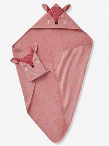 VERTBAUDET Cape de bain + gant Biche Blush 100X100 de la marque Vertbaudet image 0 produit