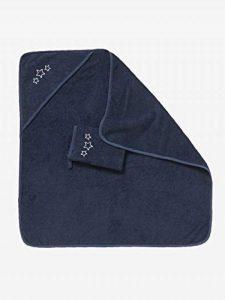VERTBAUDET Cape de bain + gant Bleu foncé 80X80 de la marque Vertbaudet image 0 produit