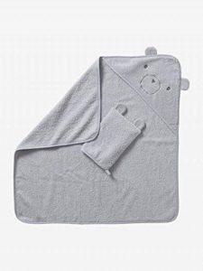 VERTBAUDET Cape de bain + gant coton bio Gris clair 100X100 de la marque Vertbaudet image 0 produit