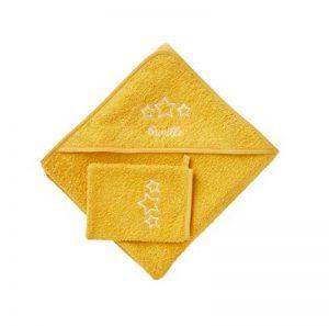 VERTBAUDET Cape de bain + gant Jaune moutarde 100X100 de la marque Vertbaudet image 0 produit