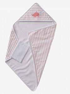 VERTBAUDET Coffret cadeau bébé cape de bain à capuche + gant Baleine Rose/blanc 80X80 de la marque Vertbaudet image 0 produit