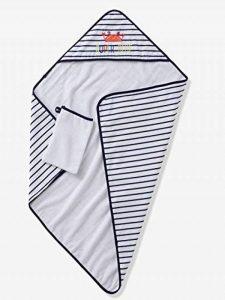 VERTBAUDET Coffret cadeau bébé cape de bain à capuche + gant + jouet SUPER CRABBY Marine/blanc 80X80 de la marque Vertbaudet image 0 produit