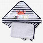 VERTBAUDET Coffret cadeau bébé cape de bain à capuche + gant + jouet SUPER CRABBY Marine/blanc 80X80 de la marque Vertbaudet image 1 produit