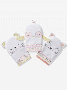 VERTBAUDET Lot de 3 gants de toilette animaux Blanc TU de la marque Vertbaudet image 0 produit