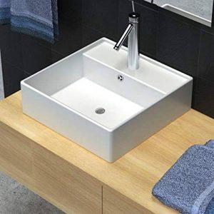 vidaXL Luxueuse Vasque Céramique Carrée Trop Plein Toilette Lave-Mains Lavabo de la marque vidaXL image 0 produit