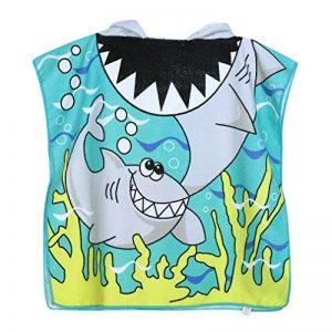 VWH Enfants Poncho à Capuche Serviettes Cartoon Garçon Fille Serviettes de Bain pour Piscine Beach (Requin #2) de la marque VWH image 0 produit