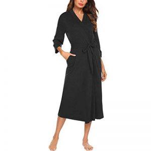 Watopi Femme Kimono Coton Peignoir de Bain Robe de Chambre Longue Vêtement Pyjama Manche 3/4 Ceinture Poche de la marque Watopi image 0 produit