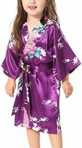 Yiarton Peignoir Enfant Motif Exotique Paon Fleur Kimono Soie Cardigan Robe de Chambre Fille Satin de la marque Yidarton image 0 produit