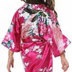Yiarton Peignoir Enfant Motif Exotique Paon Fleur Kimono Soie Cardigan Robe de Chambre Fille Satin de la marque Yidarton image 2 produit